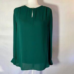 Loft Dark Emerald Green Split Neck Blouse Med